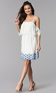 Image of off-the-shoulder casual dress with embroidered hem. Style: AS-A4967-1G11 Detail Image 3