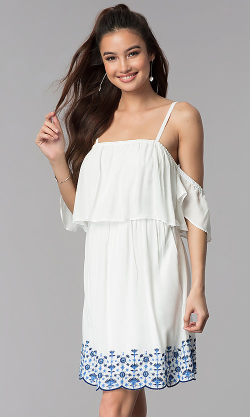 Image of off-the-shoulder casual dress with embroidered hem. Style: AS-A4967-1G11 Front Image