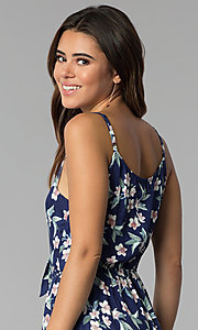 Image of cropped-leg navy blue jumpsuit with floral print. Style: AS-A8967D66A67 Detail Image 2