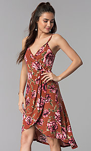 Image of high-low v-neck floral-print casual party dress. Style: AS-A8849D10A58 Front Image