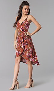 Image of high-low v-neck floral-print casual party dress. Style: AS-A8849D10A58 Detail Image 3