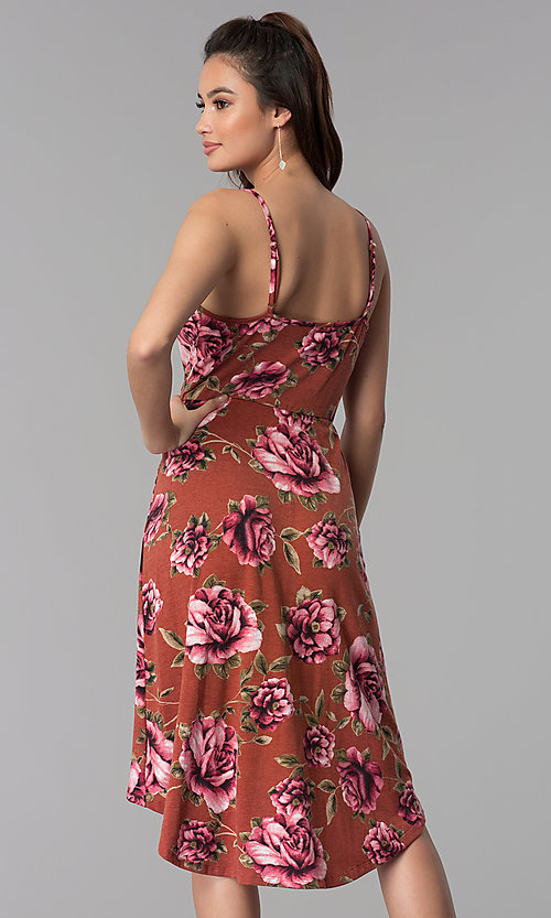 Image of high-low v-neck floral-print casual party dress. Style: AS-A8849D10A58 Back Image