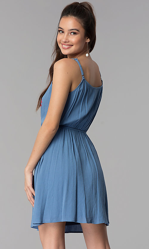 Image of casual short embroidered-bodice linen party dress. Style: AS-A8979D1G63 Back Image