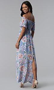 Image of long chiffon As U Wish casual dress with back slit. Style: AS-A903495E59 Back Image
