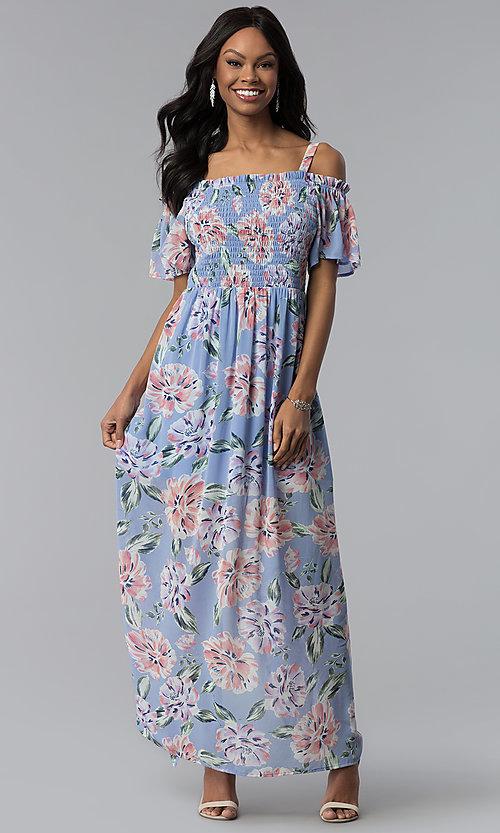 Image of long chiffon As U Wish casual dress with back slit. Style: AS-A903495E59 Detail Image 2