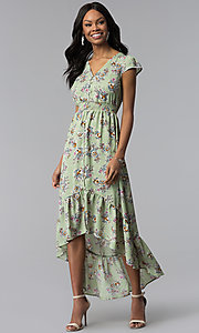 Image of floral-print casual high-low party dress. Style: AS-A8465d79E69 Front Image
