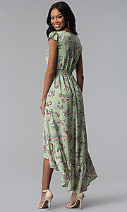 Image of floral-print casual high-low party dress. Style: AS-A8465d79E69 Back Image