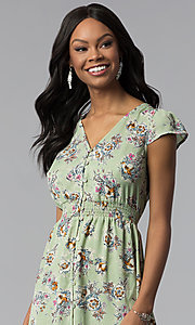 Image of floral-print casual high-low party dress. Style: AS-A8465d79E69 Detail Image 1