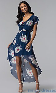 Image of floral-print high-low navy blue casual party dress. Style: AS-A877395e34 Front Image