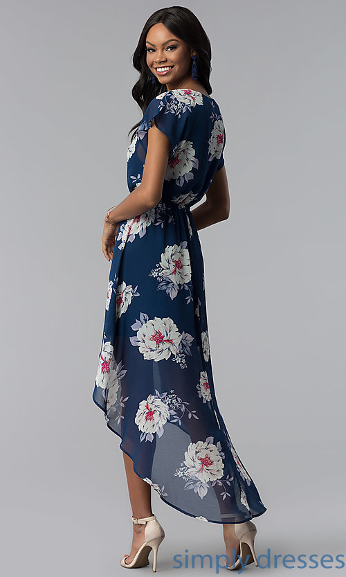 Image of floral-print high-low navy blue casual party dress. Style: AS-A877395e34 Back Image