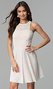 Image of ivory and nude a-line short lace graduation dress. Style: JU-10739 Front Image