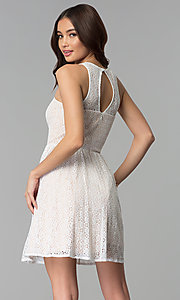 Image of ivory and nude a-line short lace graduation dress. Style: JU-10739 Back Image