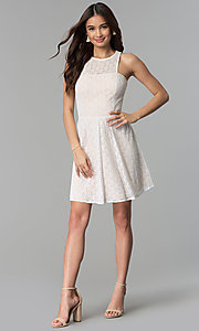 Image of ivory and nude a-line short lace graduation dress. Style: JU-10739 Detail Image 3