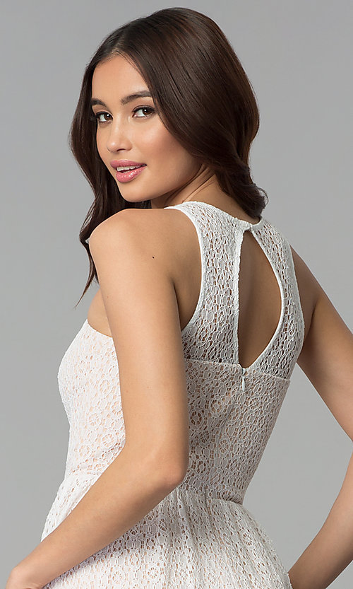 Image of ivory and nude a-line short lace graduation dress. Style: JU-10739 Detail Image 2