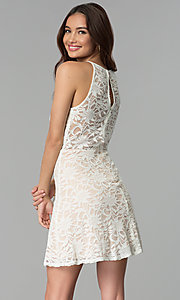 Image of short lace graduation party dress in ivory. Style: JU-10779 Back Image
