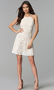 Image of short lace graduation party dress in ivory. Style: JU-10779 Detail Image 3