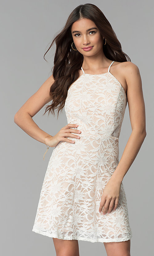 Image of short lace graduation party dress in ivory. Style: JU-10779 Front Image
