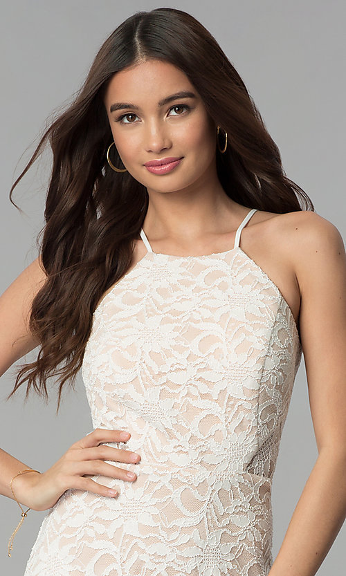 Image of short lace graduation party dress in ivory. Style: JU-10779 Detail Image 1