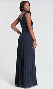 Image of fitted beaded v-neck bridesmaid dress by Kleinfeld. Style: KL-200094 Back Image