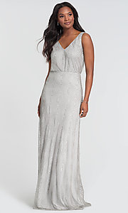 Image of fitted beaded v-neck bridesmaid dress by Kleinfeld. Style: KL-200094 Detail Image 3