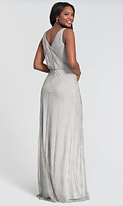 Image of fitted beaded v-neck bridesmaid dress by Kleinfeld. Style: KL-200094 Detail Image 4