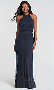 Image of high-neck beaded Kleinfeld long bridesmaid dress. Style: KL-200096 Front Image