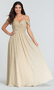 Image of glitter-knit long a-line bridesmaid dress. Style: KL-200098 Front Image