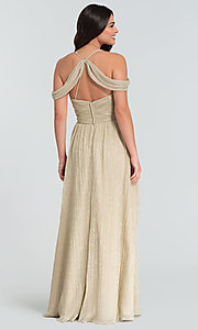 Image of glitter-knit long a-line bridesmaid dress. Style: KL-200098 Back Image
