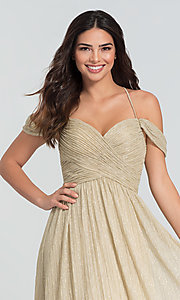 Image of glitter-knit long a-line bridesmaid dress. Style: KL-200098 Detail Image 1