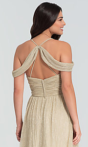 Image of glitter-knit long a-line bridesmaid dress. Style: KL-200098 Detail Image 2
