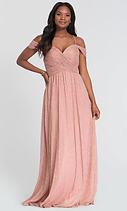 Image of glitter-knit long a-line bridesmaid dress. Style: KL-200098 Detail Image 3