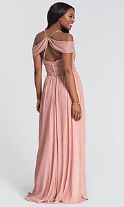 Image of glitter-knit long a-line bridesmaid dress. Style: KL-200098 Detail Image 4