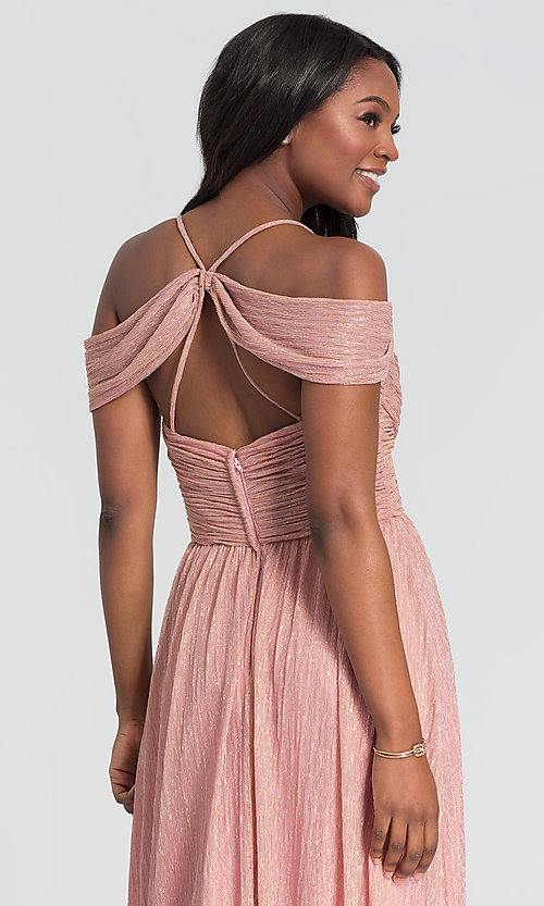 Image of glitter-knit long a-line bridesmaid dress. Style: KL-200098 Detail Image 6