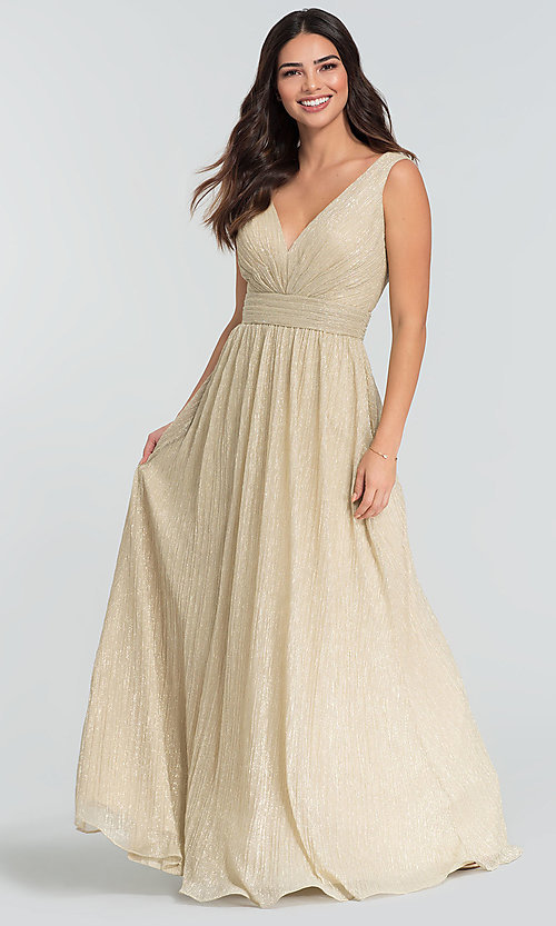 Image of glitter-knit long bridesmaid dress. Style: KL-200099 Front Image