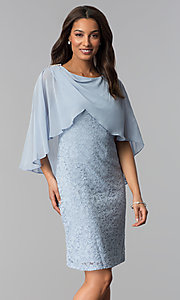 Image of short blue lace mother-of-the-bride dress with cape. Style: SD-86155 Front Image
