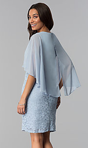 Image of short blue lace mother-of-the-bride dress with cape. Style: SD-86155 Back Image