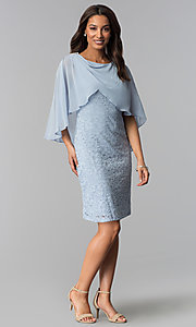 Image of short blue lace mother-of-the-bride dress with cape. Style: SD-86155 Detail Image 1