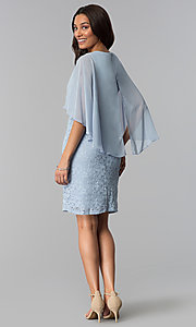 Image of short blue lace mother-of-the-bride dress with cape. Style: SD-86155 Detail Image 2