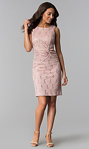 Image of sequin-lace short wedding-guest dress in blush pink. Style: SD-77619 Detail Image 1
