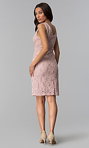 Image of sequin-lace short wedding-guest dress in blush pink. Style: SD-77619 Detail Image 2