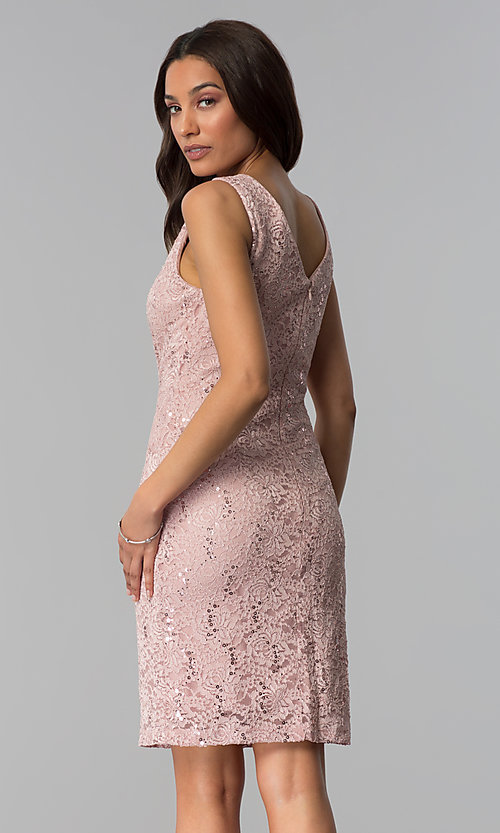 Image of sequin-lace short wedding-guest dress in blush pink. Style: SD-77619 Back Image