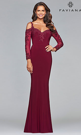 Long-Sleeved Sweetheart Prom Dress by Faviana