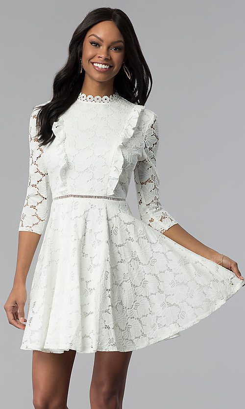 Image of high-neck lace 3/4-sleeve short grad party dress. Style: CT-3623KK8BT1 Front Image