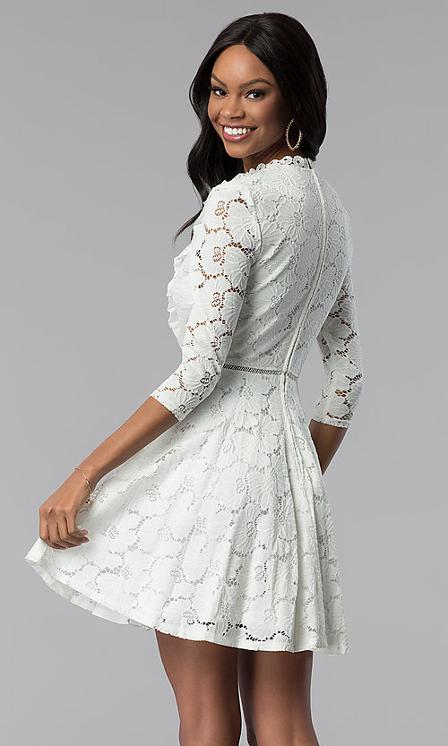 Image of high-neck lace 3/4-sleeve short grad party dress. Style: CT-3623KK8BT1 Back Image