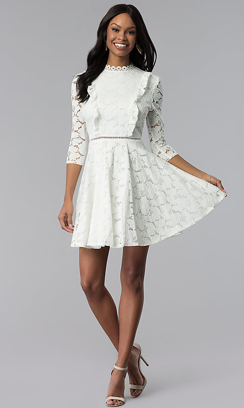 Image of high-neck lace 3/4-sleeve short grad party dress. Style: CT-3623KK8BT1 Detail Image 3