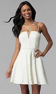 Image of short lace multi-strap white graduation party dress. Style: CT-6085HP7AT3 Front Image