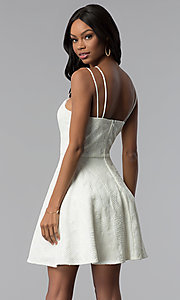 Image of short lace multi-strap white graduation party dress. Style: CT-6085HP7AT3 Back Image
