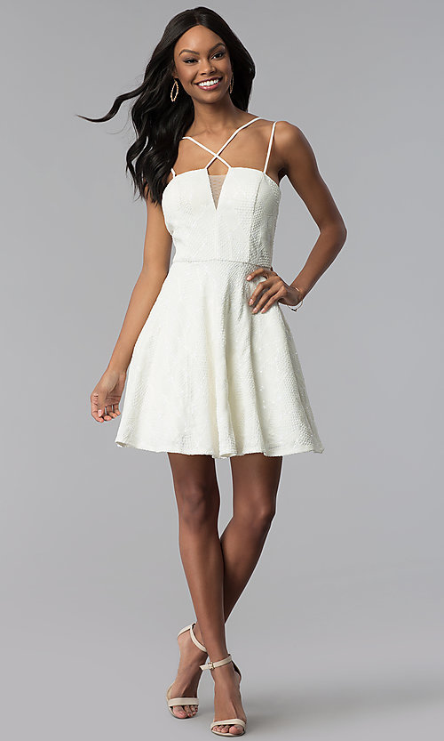 Image of short lace multi-strap white graduation party dress. Style: CT-6085HP7AT3 Detail Image 3