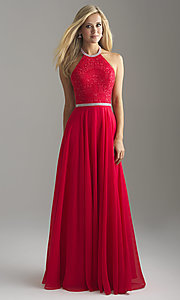 Image of open-back long Madison James halter prom dress. Style: NM-18-621 Detail Image 2