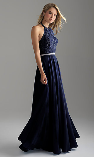 Open-Back Long Madison James Halter Prom Dress